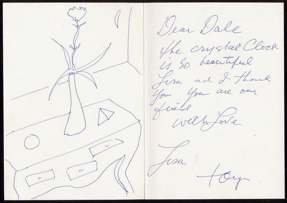 Curtis, Tony Signed note with a sketch by Tony <b>SOLD